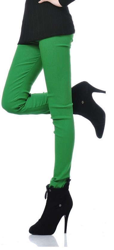 Green Solid Color Leggings